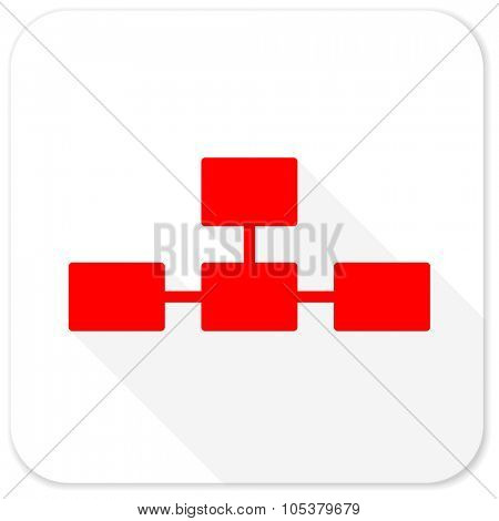 database red flat icon with long shadow on white background