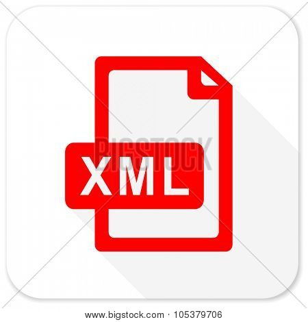 xml file red flat icon with long shadow on white background