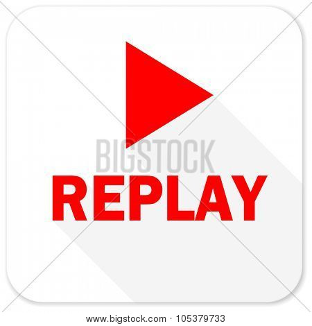 replay red flat icon with long shadow on white background