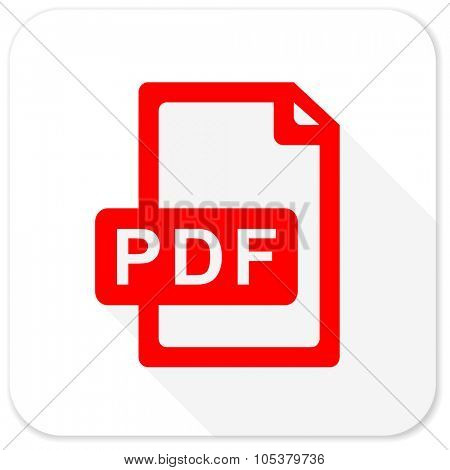 pdf file red flat icon with long shadow on white background
