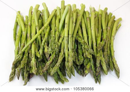 Bunch Of Raw Asparagus On White