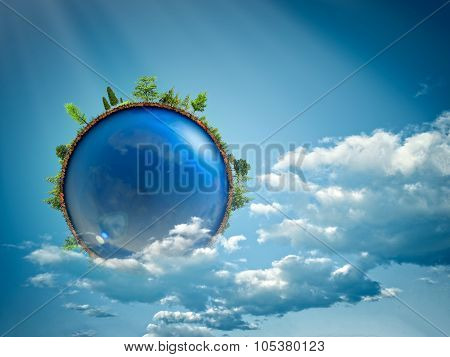 Blue planet floating in the clouds