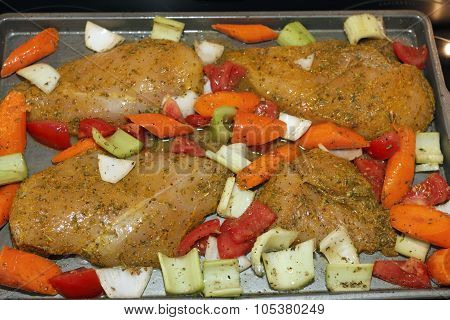 Chicken And Vegetables Ready To Bake