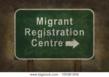 Migrant Registration Centre Green Roadside Sign Illustration