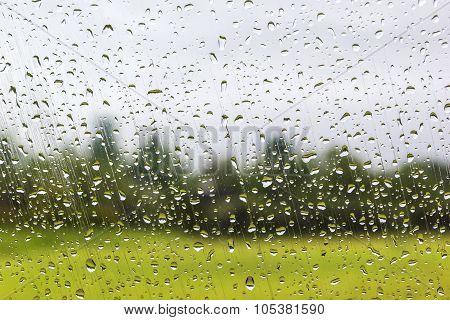 Water Drops On Window Glass