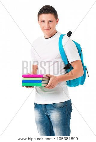 Young student with backpack carrying books, isolated on white background