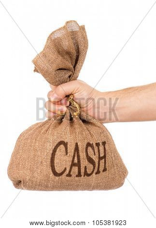 Man hand with money bag, isolated on white background