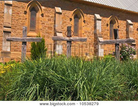 Three Crosses In A Church Garden