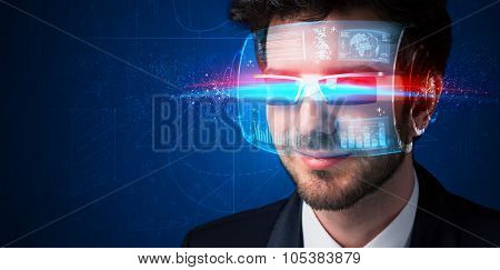 Man with future high tech smart glasses concept