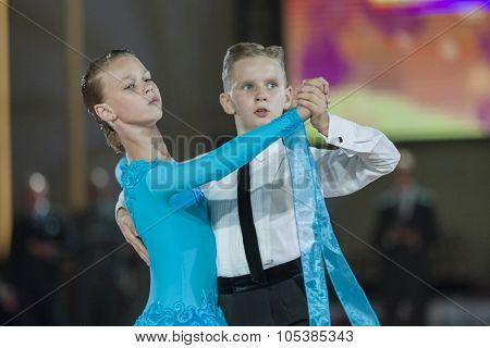 Minsk, Belarus-september 26, 2015: Zakharchenko Oleksiy And Vasina Anna  Perform Juvenile-1 Standard