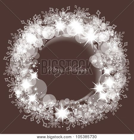 Sparkling lights and snowflakes Christmas round frame for text