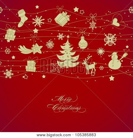 Golden Christmas decorations over red background, horizontal seamless pattern