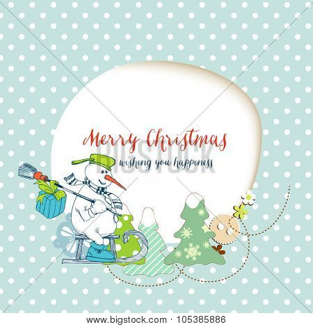 Christmas card, funny snowman delivering gifts and space for text frame