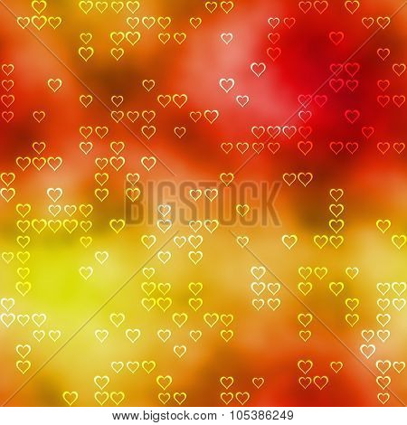 Seamless Pattern With Heart Silhouettes On Colored Background