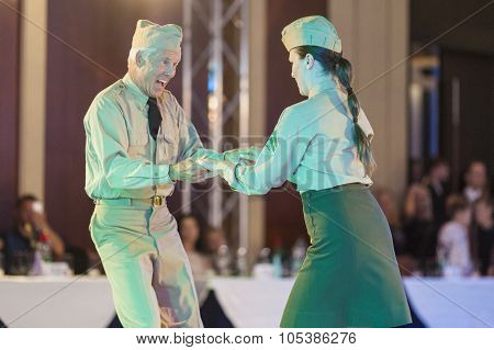 Minsk, Belarus - September 26, 2015: John Gusenhoffer And Irina Lobanova (usa) Perform Pro-am Show C