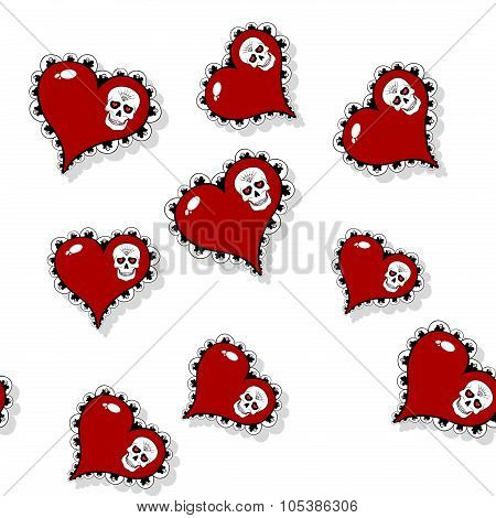 Seamless Pattern With Ornate Red Heart And Skull