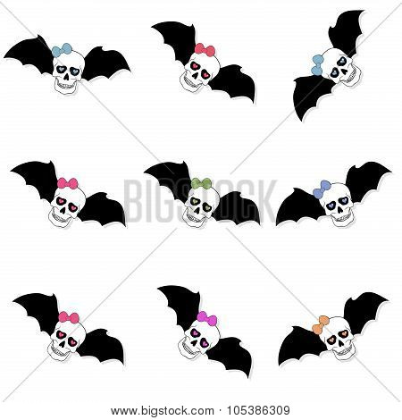 Skulls With Colored Bow And Bat Wings. Seamless Pattern