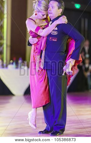 Minsk, Belarus - September 26, 2015: Italian Dance Couple Perform Pro-am Show Case Dance Show On Iii