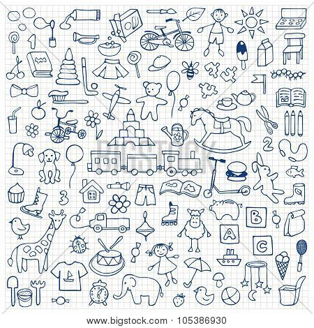 Toys hand drawn doodle set