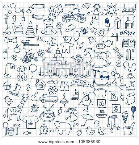 Toys hand drawn doodle set