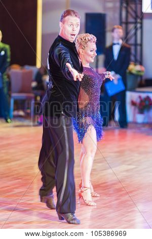 Minsk, Belarus - September 26, 2015: Unidentified Dance Couple Performs Pro-am Latin-american Progra