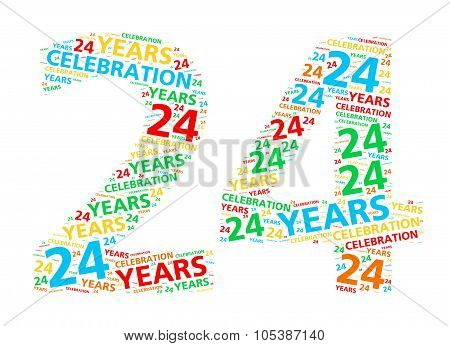 Colorful word cloud for celebrating a 24 year birthday or anniversary