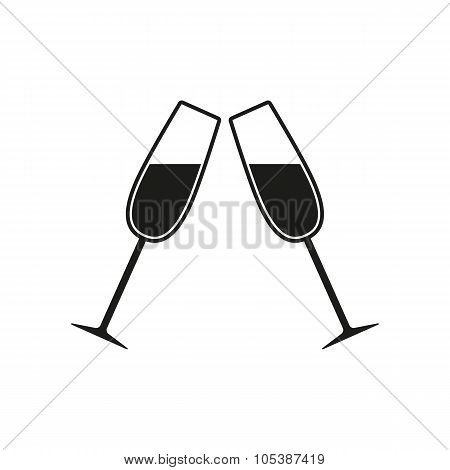 The Clink Glasses Icon. Wineglass And Goblet, Celebration Symbol. Flat