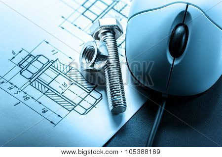 Mouse And Screw Bolt With Nut