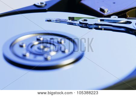 Close up inside of Harddrive (HDD) on white background