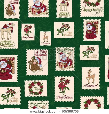 Vector Vintage Holiday Stamps Green Christmas Seamless Pattern. Saint Nicholas.