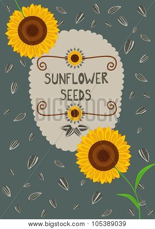 Template For Sunflower Seeds Packaging And Labels