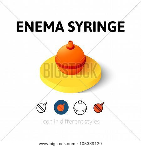 Enema syringe icon in different style