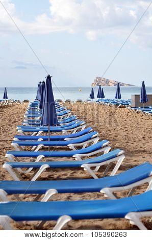 Sunbeds In The Beach
