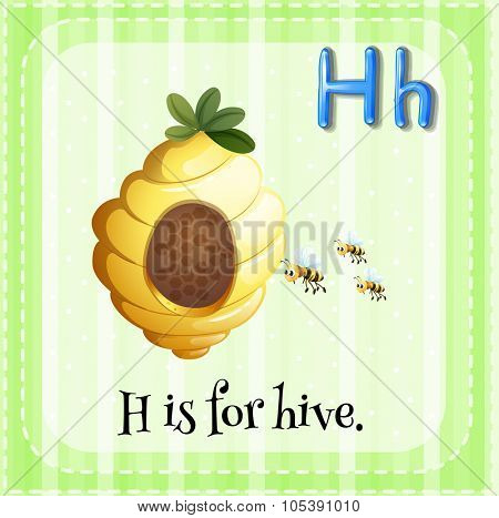 Flashcard letter H is for hive illustration