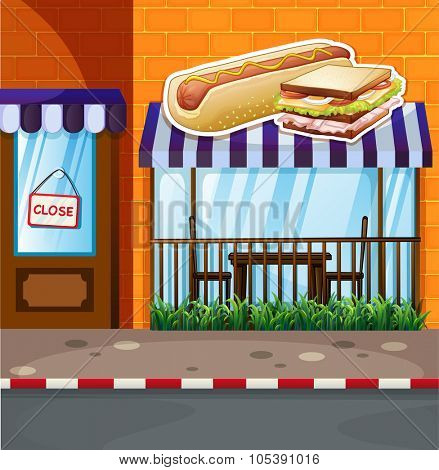 Fastfood shop by the street illustration