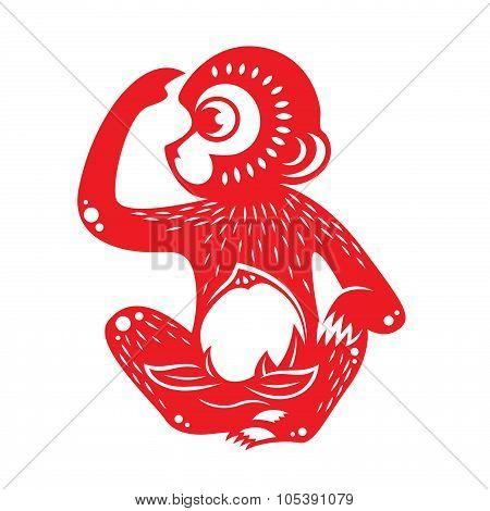 Red paper cut monkey zodiac symbol (monkey holding peach)