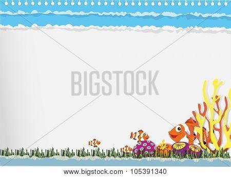 Paper design with clownfish underwater illustration