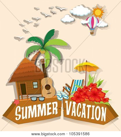 Summer vacation theme with bungalow illustration