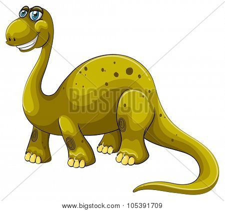 Green sauropod with happy face illustration