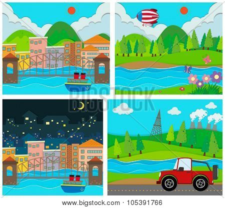 Four scene of rural and urban area illustration