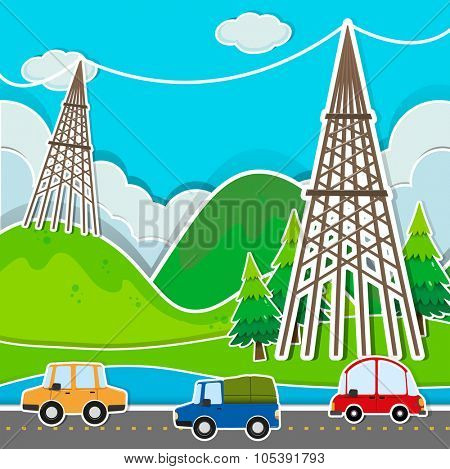 Scene with cars and power line illustration