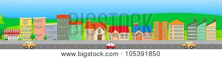 Suburb scene with houses and cars illustration