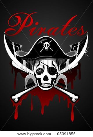 Pirates theme with skull and swords illustration