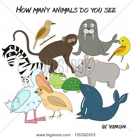 Educational game  how many animals do you see