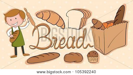 Baker and different kind of bread illustration