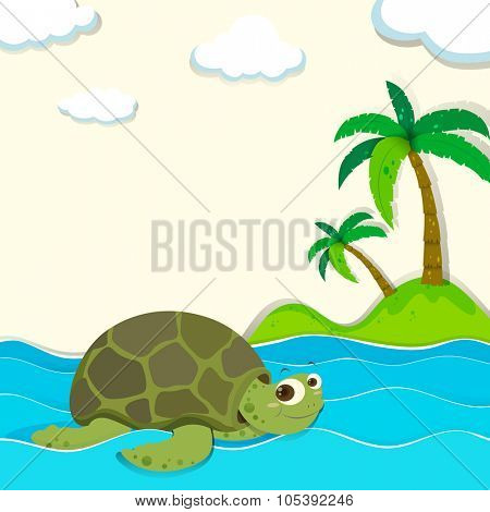Turtle swimming in the ocean illustration