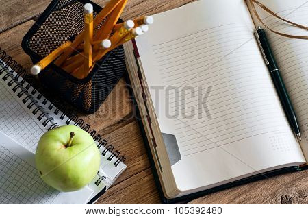 Open Notepad With Clean Pages Closeup