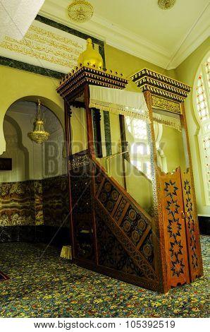 Mimbar of Ubudiah Mosque at Kuala Kangsar, Perak, Malaysia