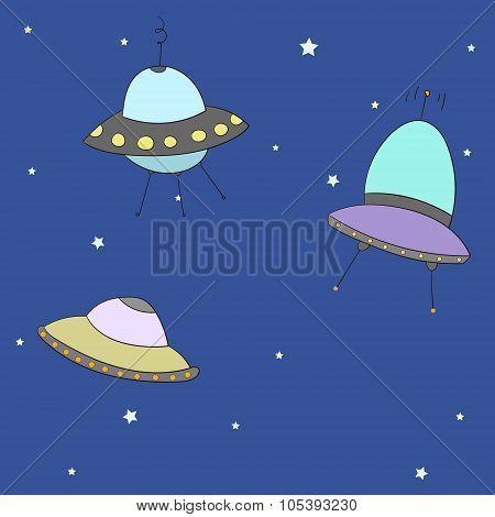Cartoon UFO vector illustration