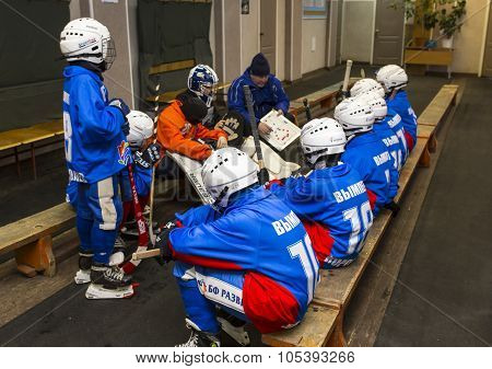 RUSSIA, KOROLEV - JANUARY 15, 2015: 3-d stage children's hockey League bandy, Russia. Team listening